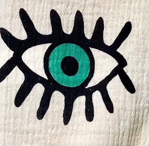 Turkish Eye Block Printed Beach Towel | Green Eyes