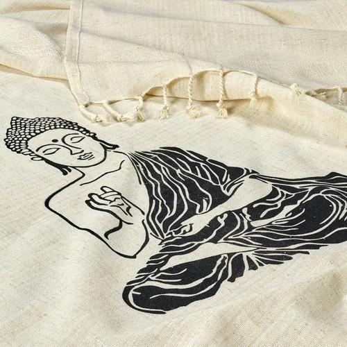 Sitting Buddha Block Printed Beach Towel | Black Ink