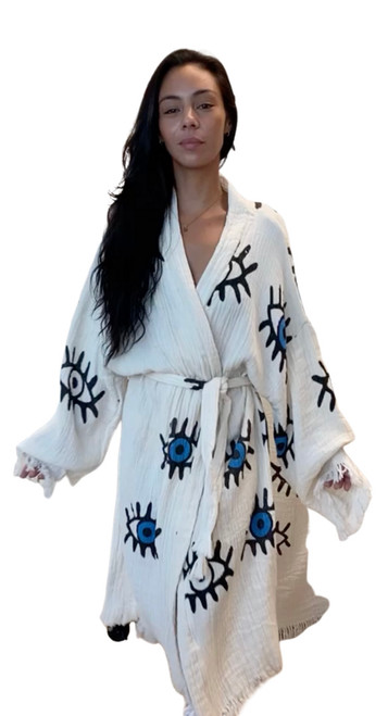 Turkish Eye Block Printed Robe Towel | Blue Eyes
