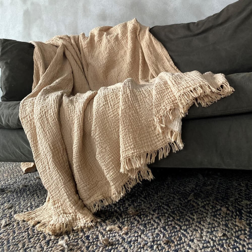 Cotton Fluffy Honey Throw