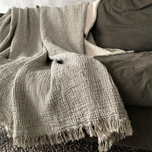 Cotton Fluffy Olive Throw