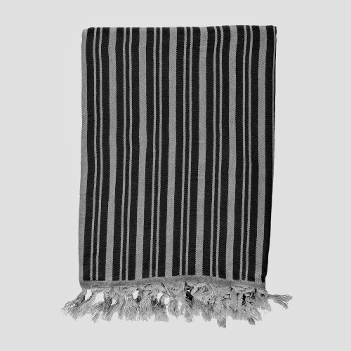 Black and Silver Striped Throw