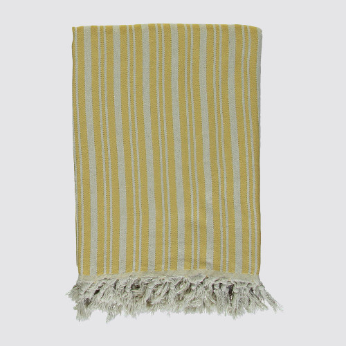 Golden Mustard and Natural Striped Woven Throw