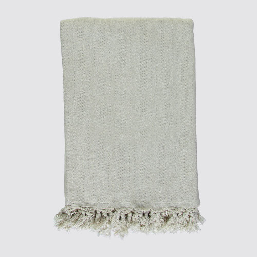 Natural Off White Striped Throw