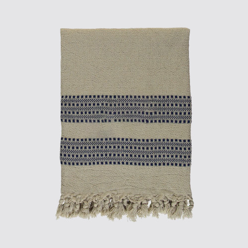 Navy and Natural  Woven Throw