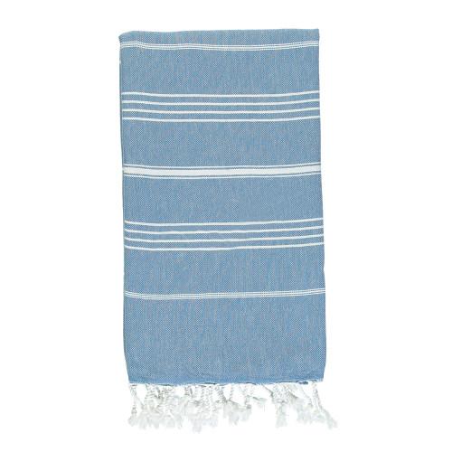 Bimini,  Striped Turkish Beach Towel in Aegean Blue
