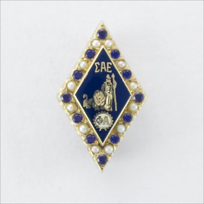 ΣΑΕ Alternating Pearl and Sapphire Badge