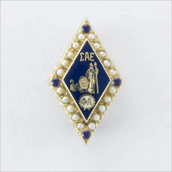 ΣΑΕ Crown Pearl Badge with Sapphire Points