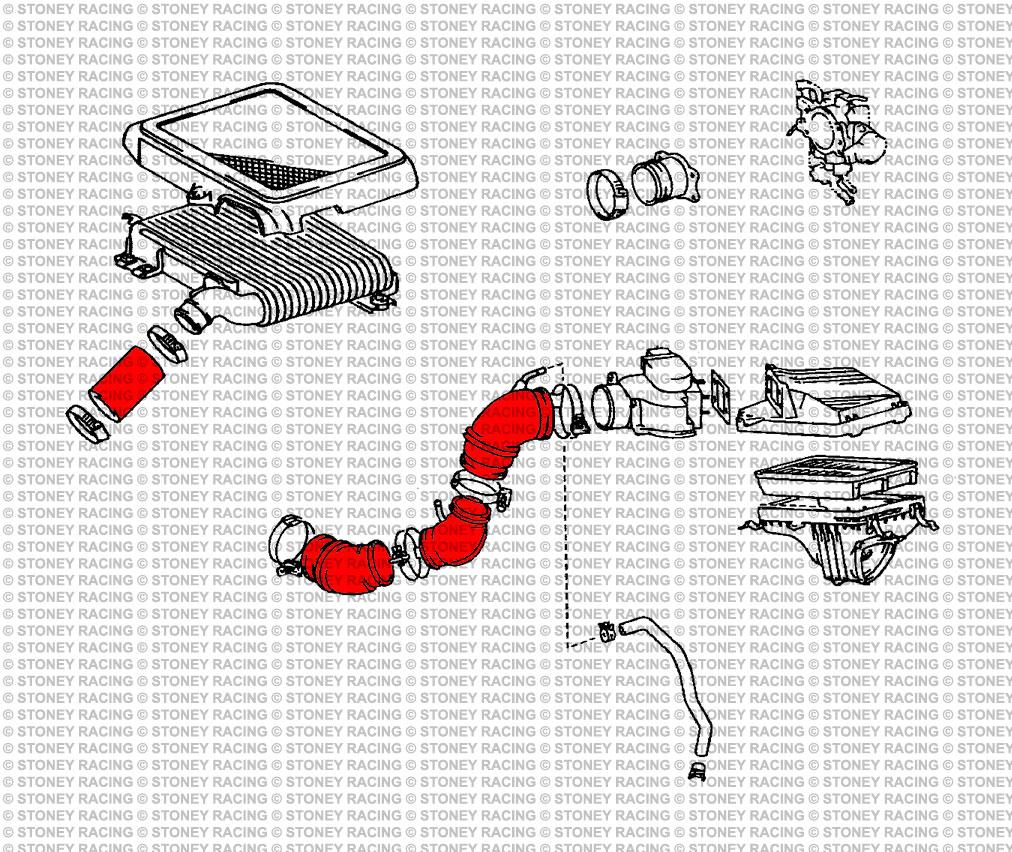 Stoney RACING TOYOTA CELICA GT4 ST205 Silicone Tubo A Vuoto Sfiato Kit VERDE