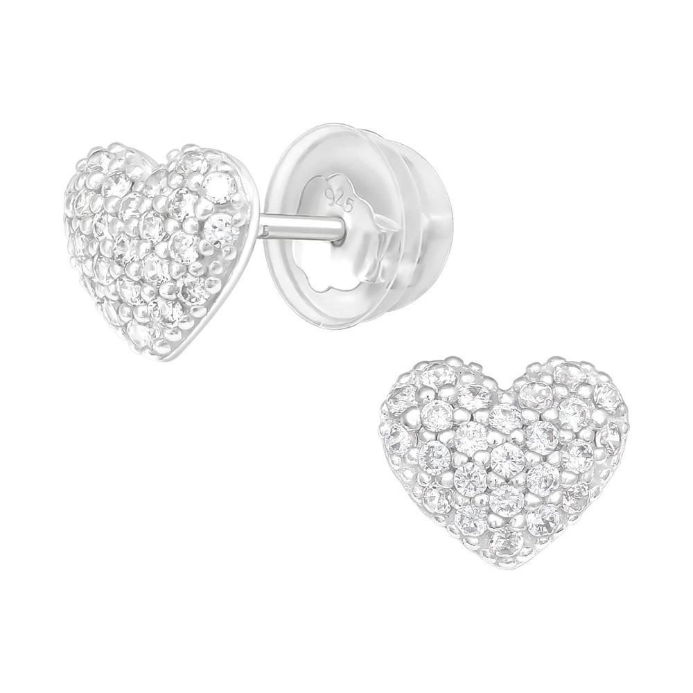 Premium Children's Silver Heart Ear Studs with Cubic Zirconia - EF21654