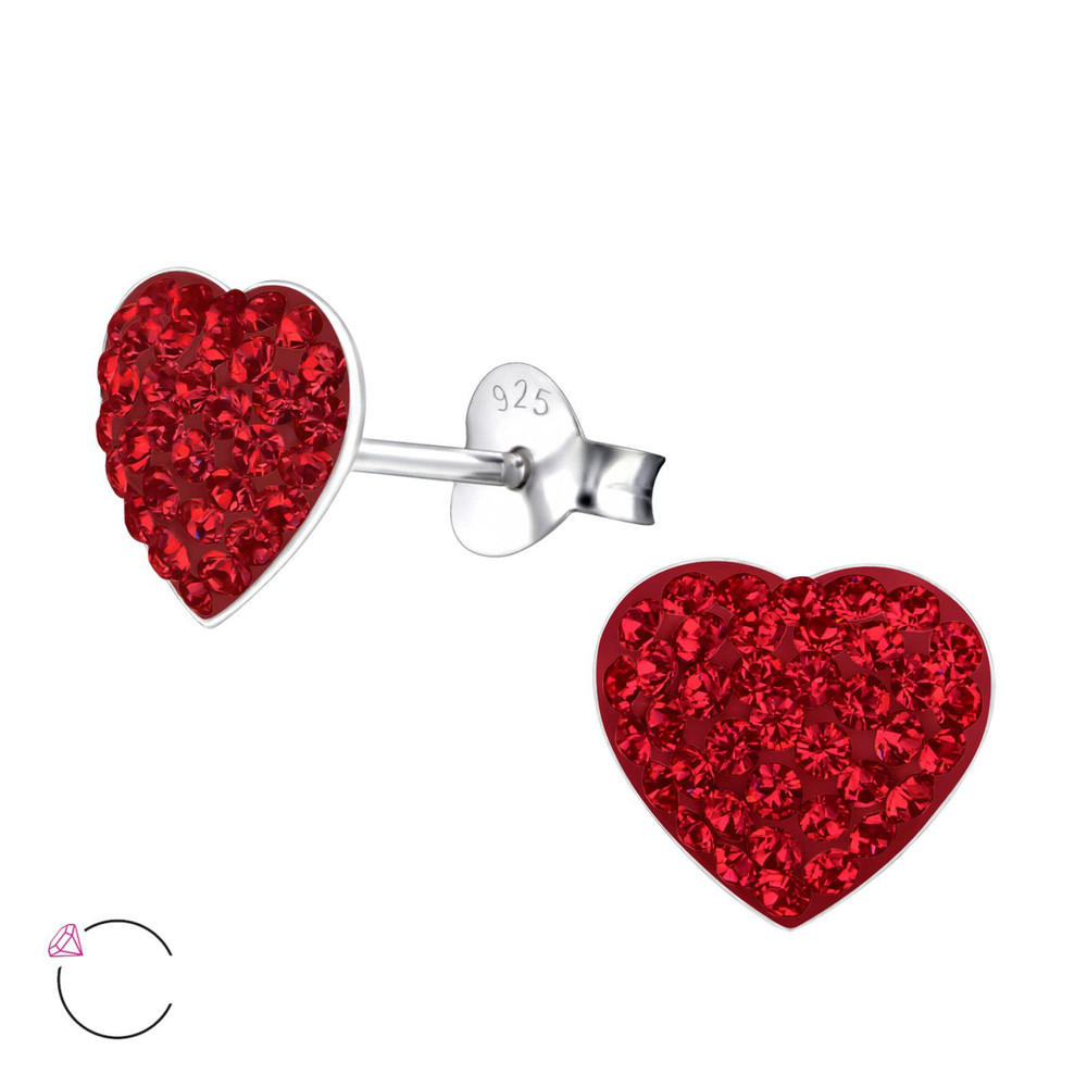 La Crystale Children's Silver Heart Ear Studs with Crystals from Swarovski® - EF21914