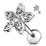 CZ Set Flower Top 316L Surgical Steel Internally Threaded Labret, Monroe & Ear Cartilage Studs