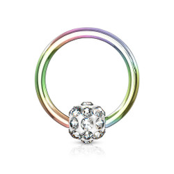 Crystal Paved Ferido Ball 316L Surgical Steel Captive Bead Ring