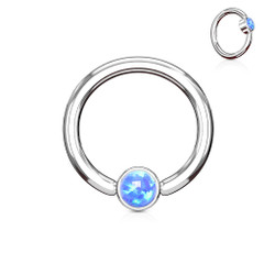 Opal Set Round Flat Cylinder Captive Hoop Ring 316L Surgical Steel