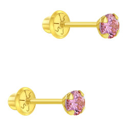 14k Yellow Gold 3mm CZ Prong Set Solitaire Screw Back Stud Earrings Toddlers Girls
