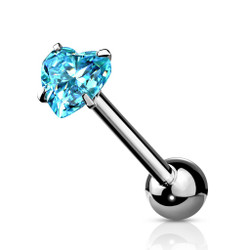 Prong Set Heart CZ 316L Surgical Steel Barbell Tongue Ring