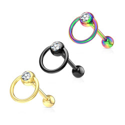 Clear Gem with Slave Ring 316L Surgical Steel Barbell Tongue Ring