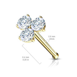 Three Prong Set Round CZ Triangle 316L Surgical Steel Nose Bone Stud Ring