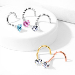 Prong Set Heart CZ Top 316L Surgical Steel Nose Screw Ring