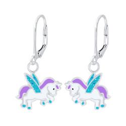 Children's Silver Unicorn Lever Back Earrings