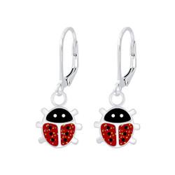 Children's Silver Ladybug Lever Back Earrings