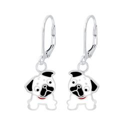 Children's Silver Bulldog Lever Back Earrings