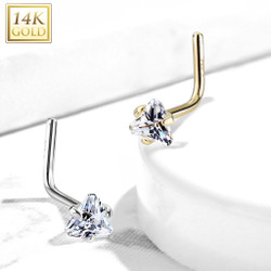 14Kt. Gold L Bend Nose Ring with Prong Set Triangle CZ