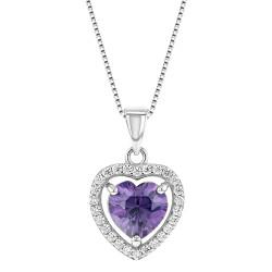 "925 Sterling Silver Heart Pendant Necklace CZ Girls Kids Teens 16"""