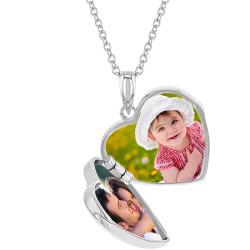 "925 Sterling Silver CZ Cross Heart Locket Pendant Necklace for Girls 16"""
