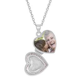 """925 Sterling Silver Cubic Zirconia Heart Photo Locket Girls Necklace 16"""""""