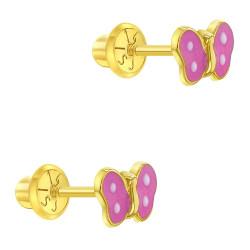 14K Yellow Gold Young Girl's Pink & White Enamel Butterfly Screw Back Stud Earrings