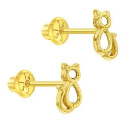 14k Yellow Gold Little Kitten Screw Back Earrings for Toddlers to Little Girls