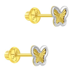 14k Yellow and White Gold Two-tone Butterfly Screw Back Earrings for Young Girls & Preteens