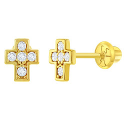 14k Yellow Gold & CZ Tiny Cross Screw Back Earrings for Babies, Toddlers & Young Girls