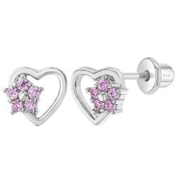 925 Sterling Silver Heart & Flower Pink CZ Screw Back Stud Earrings Children Girls
