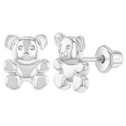 925 Sterling Silver Teddy Bear Earrings Screw Back for Toddlers & Young Girls