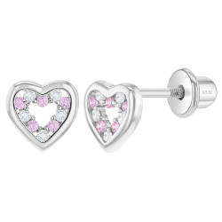 925 Sterling Silver CZ Clear Pink Heart Screw Back Earrings for Baby Girls & Toddler