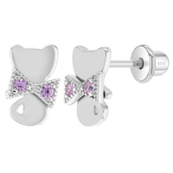 925 Sterling Silver Pink Cubic Zirconia Kitten with Ribbon Screw Backs for Young Girls & Pre Teens