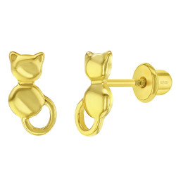 925 Sterling Silver Kitty Cat Screw Back Earrings for Young Girls & Pre-Teens, Small Cat