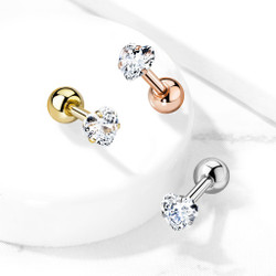 Prong Set Heart CZ 316L Surgical Steel Cartilage, Tragus Barbell Studs