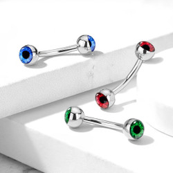 Eyeball Inlaid 316L Surgical Steel Curved Barbells for Eyebrow and More