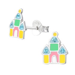 Children's Silver Castle Ear Studs with Crystal