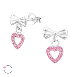 La Crystale Children's Silver Bow with Hanging Heart Ear Studs and Genuine European Crystals