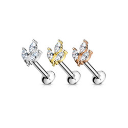 3 Marquise CZ Prong set Threadless Top 316L Surgical Steel Push in Style Labret