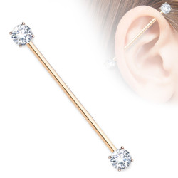 Round CZ Prong Set Ends 316L Surgical Steel Industrial Barbells