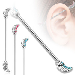 Angel Wings with Lined CZ Gems 316L Surgical Steel Industrial Barbell