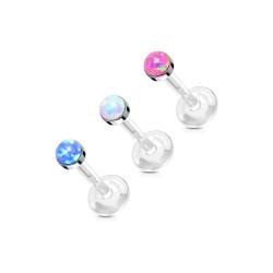 Opal Stone Flat Set 316L Surgical Steel Top Push In Bio Flex Flat Back Studs for Labret, Monroe, Ear Cartilage