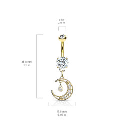 CZ Paved Crescent Dangle Round CZ Set 316L Surgical Steel Belly Button Ring