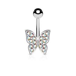 Crystal Paved Butterfly 316L Surgical Steel Belly Button Navel Ring