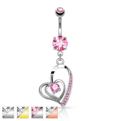 CZ Centered Double Heart with Micro Pave CZ Dangle 316L Surgical Steel Belly Button Navel Ring